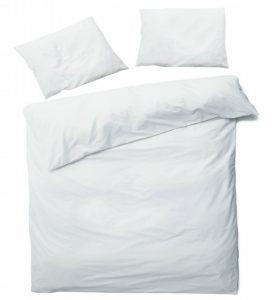 Linge de lit avec housse de couette uni coloris blanc