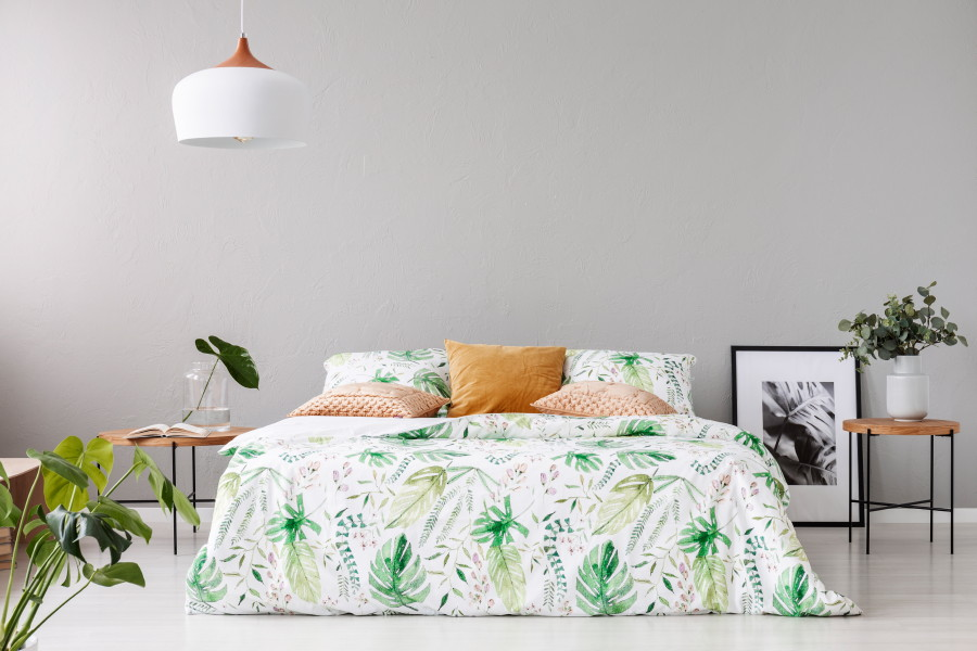 Linge de lit avec housse de couette fleuri