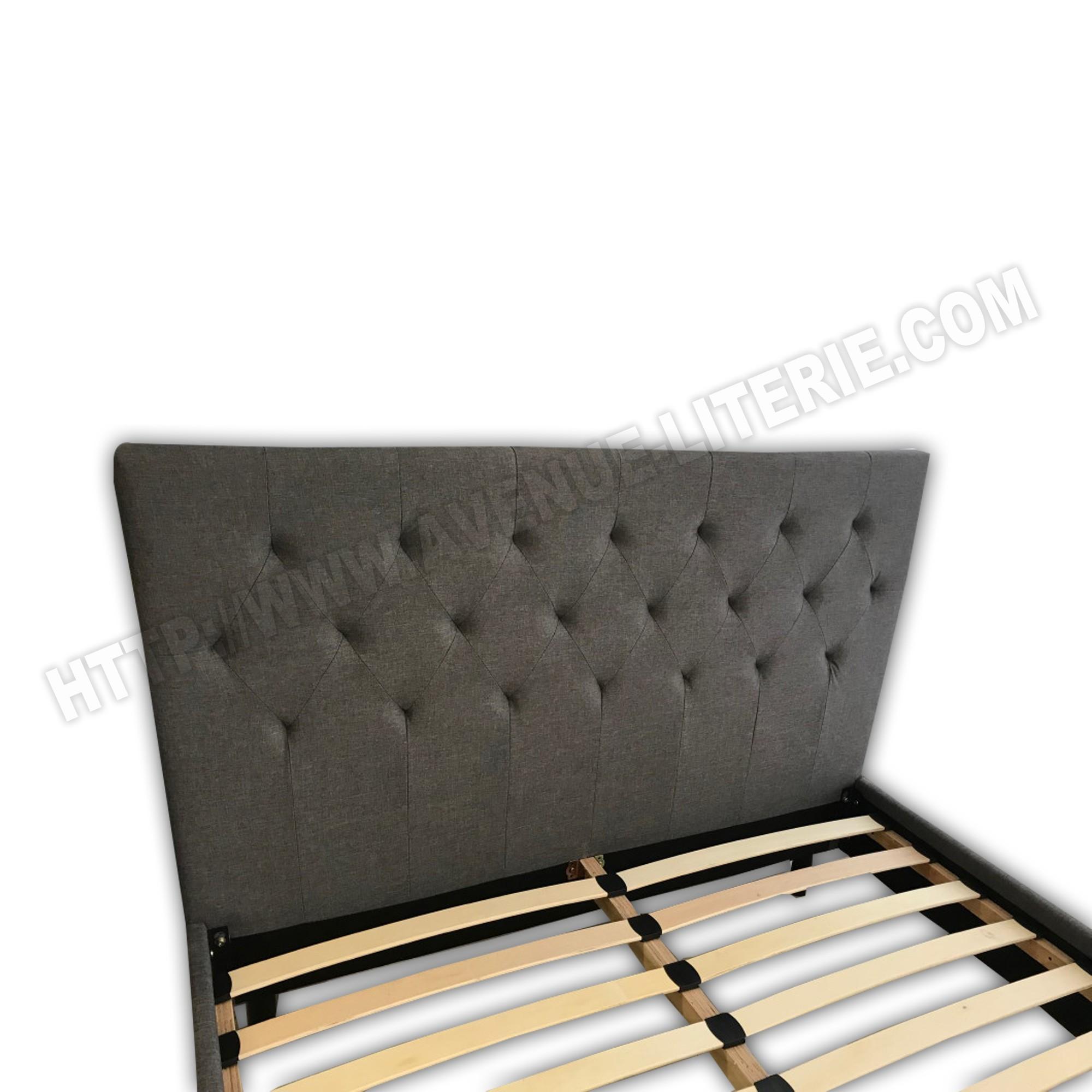 Matelas Au Sol Sommier lit juliette gris 140x200 avec tête de lit capitonnée en