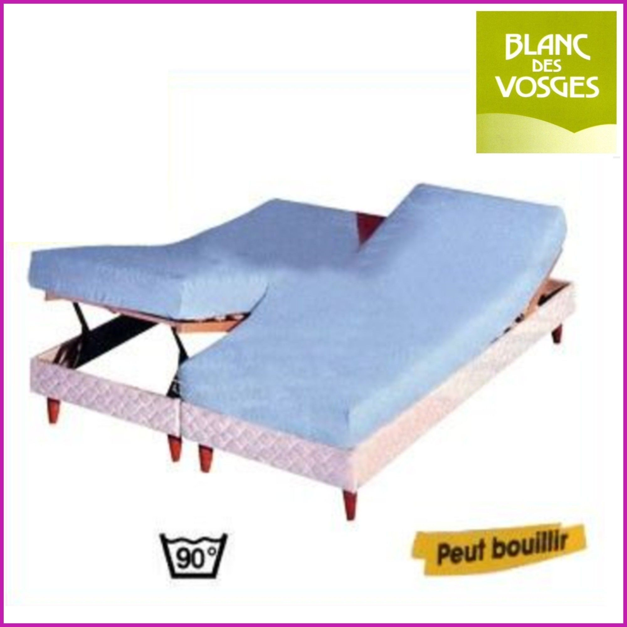 Vente drap housse lit relevable coton blanc des vosges pas for Drap housse lit