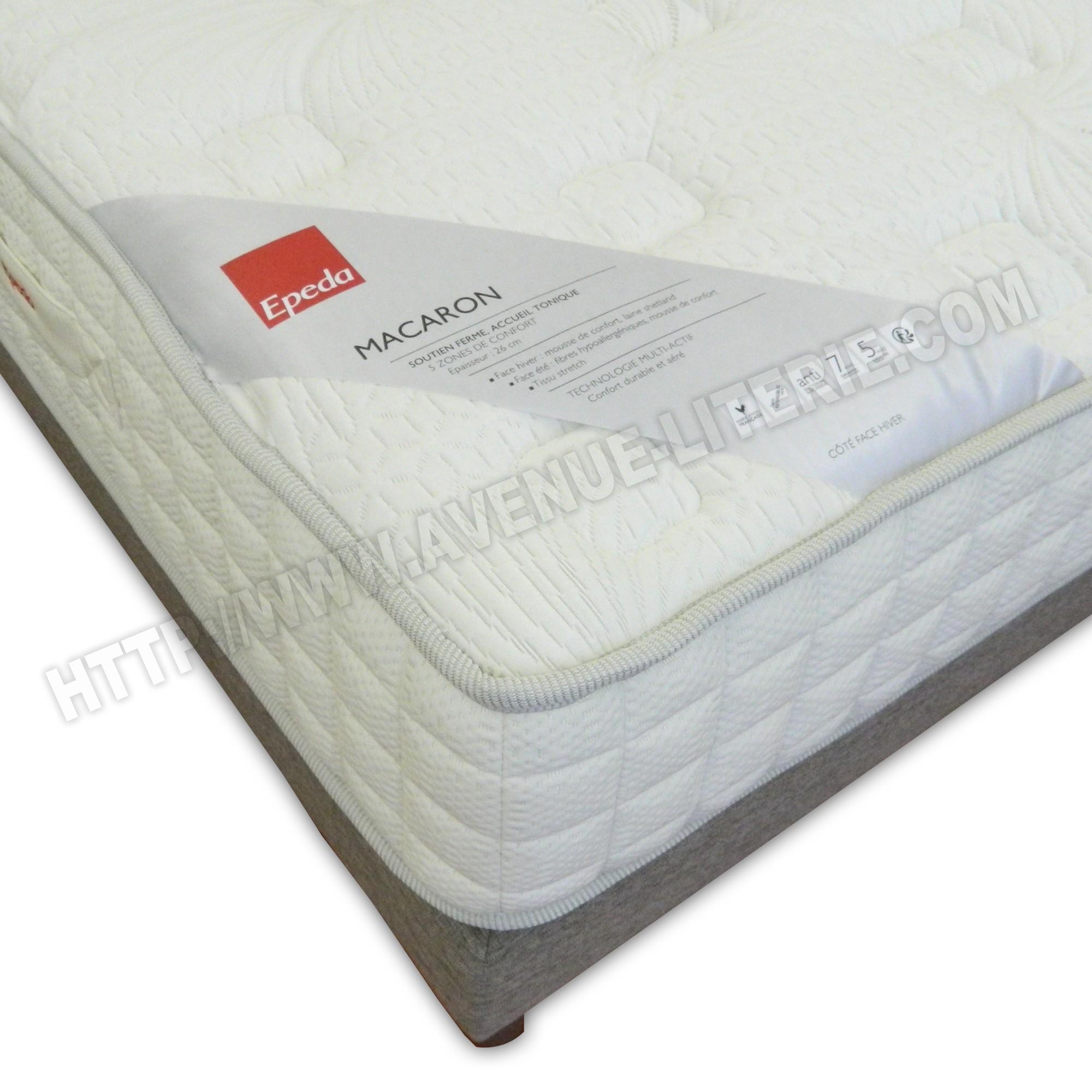 ensemble literie 140x190 macaron epeda matelas sommier chin gris de epeda. Black Bedroom Furniture Sets. Home Design Ideas