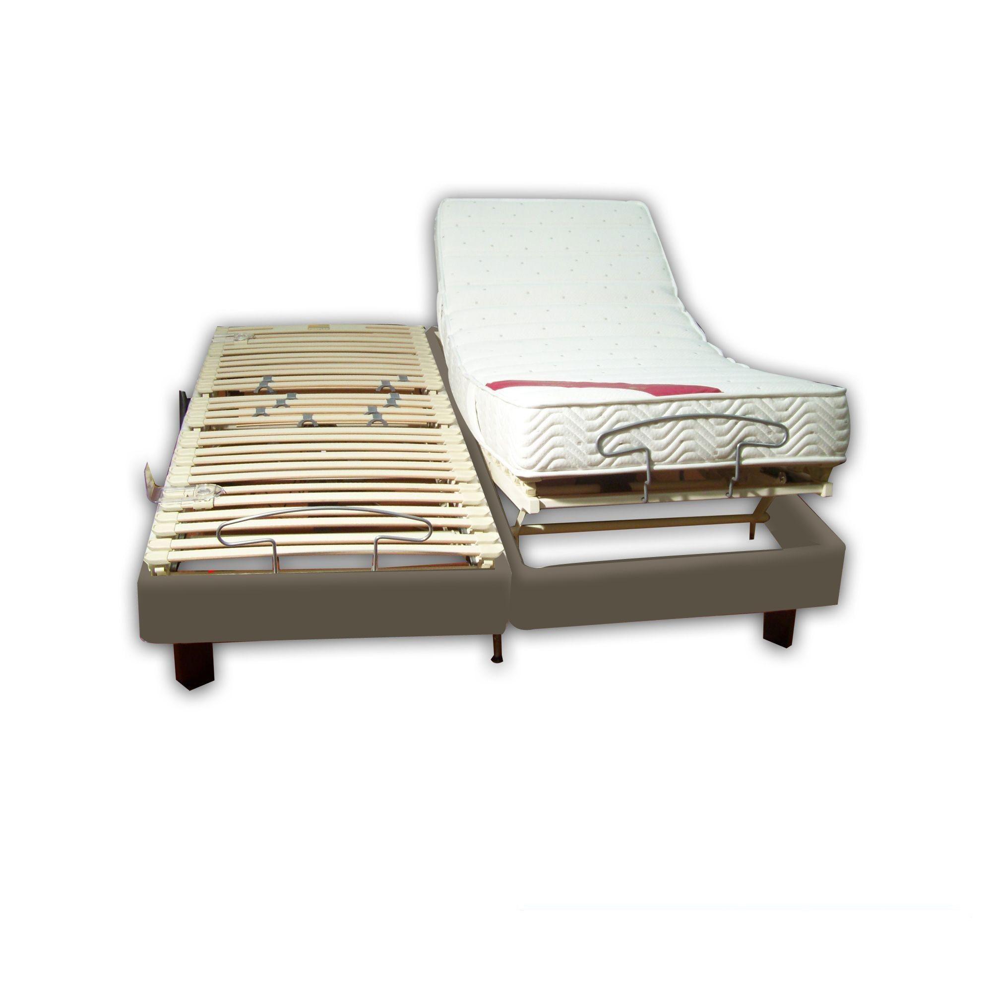 achat ensemble relaxation latex 2x90x200 clips simili cuir gris pas cher avenue literie. Black Bedroom Furniture Sets. Home Design Ideas
