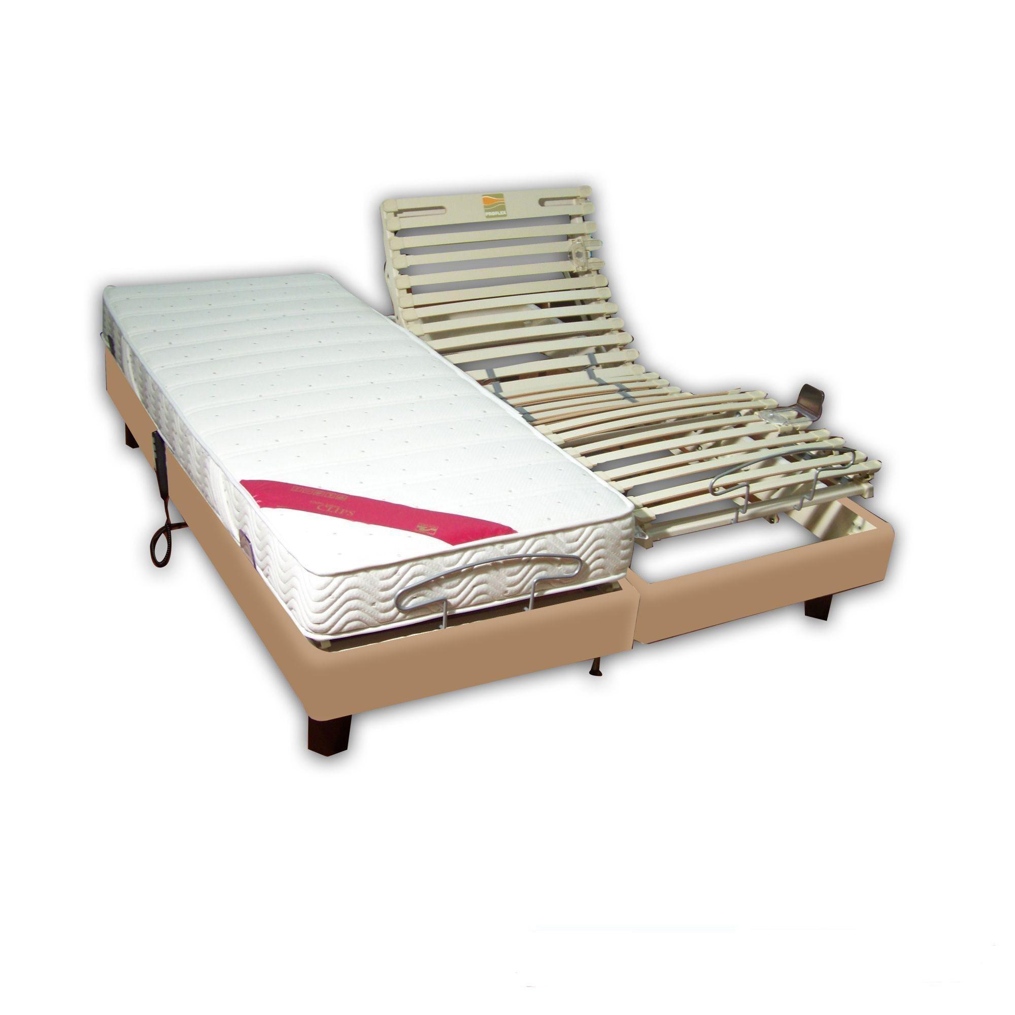 achat ensemble relaxation latex 2x80x200 clips simili cuir beige pas cher avenue literie. Black Bedroom Furniture Sets. Home Design Ideas