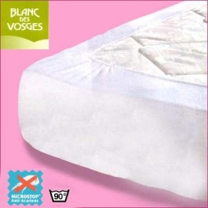 Protège matelas anti acarien Microstop Blanc des Vosges 90x190 (1 pers)