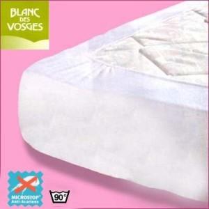 Protège matelas anti acarien Microstop Blanc des Vosges 100x200 (1 pers)