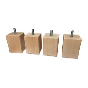 jeu de 4 pieds bois cubique clair h 8 cm