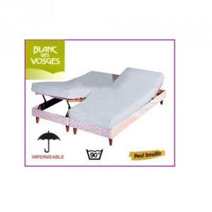 Protection literie relevable Coton/PVC Blanc des Vosges 2 x 90 x 200