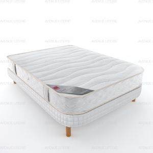 Literie matelas + sommier aux 2 coins demi corbeille Ecorce Epeda 140x190