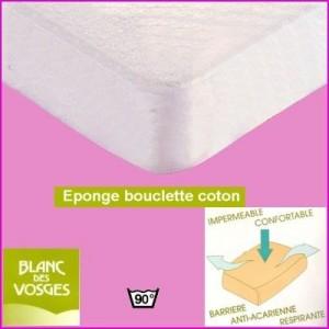Protège matelas bouclette Blanc des Vosges 90 x 200 (1 pers)