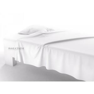 Drap Plat Uni Blanc Percale Anne de Solène 180 x 290
