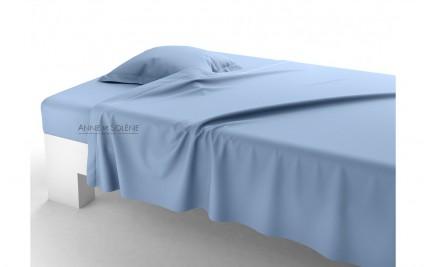 Drap Plat Uni Azur Percale Anne de Solène 180 x 290