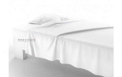 Drap Plat Uni Blanc doux Percale Anne de Solène