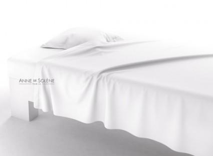 Drap Plat Uni Blanc Percale Anne de Solène