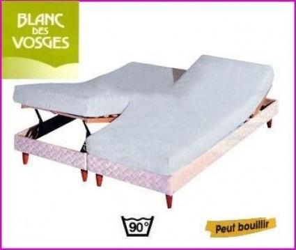 Protection literie relevable Blanc des Vosges 2 x 100 x 200 (2 pers)