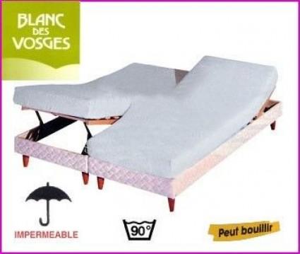 Protection literie relevable Coton/PVC Blanc des Vosges 2 x 90 x 200 (2 pers)