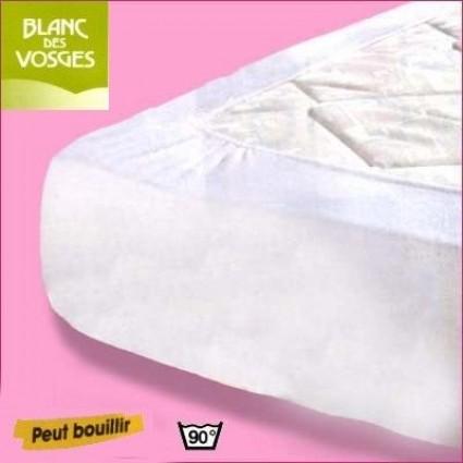 Alèse et protège matelas coton Blanc des Vosges 130 x 190 (2 pers)