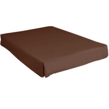 Cache sommier coton uni chocolat