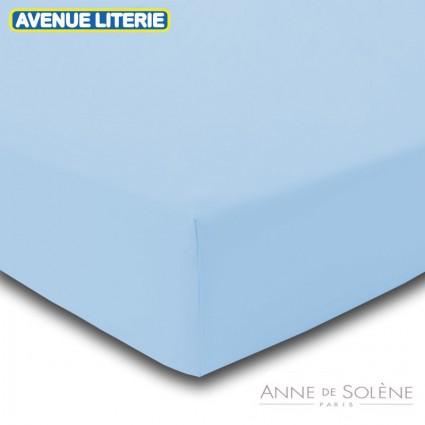 Drap Housse Uni Azur Percale Anne de Solène 160 x 200 (2 pers) Azur