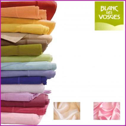Drap Plat Satin de Coton Blanc des Vosges