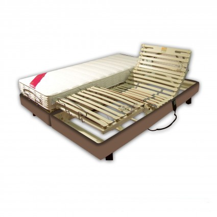 Ensemble Relaxation Latex 2x70x190 Clips Simili Cuir Taupe