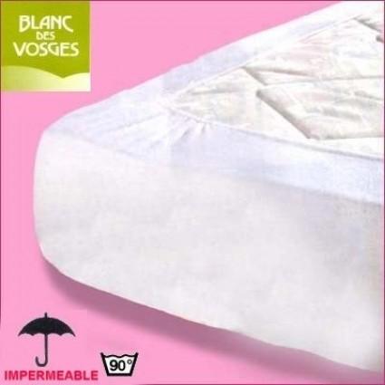 Protège matelas imperméable Coton/PVC Blanc des Vosges 130 x 190 (2 pers)