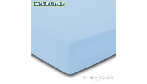 Drap Housse Uni Azur Percale Anne de Solène 140 x 190 (2 pers) Azur