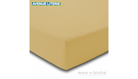 Drap Housse Uni Blé Percale Anne de Solène 140 x 190 (2 pers) Blé