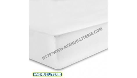 Drap Housse 160 x 200 blanc, coton de Blanc des Vosges